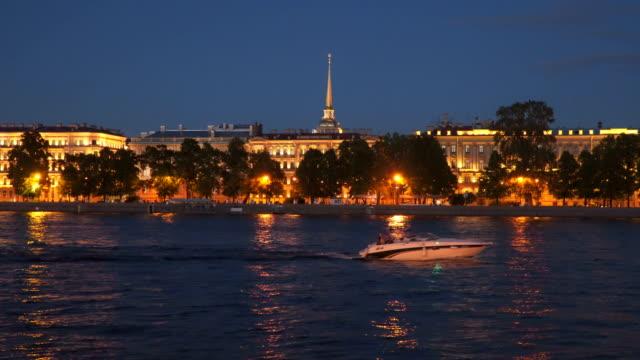 Night illumination of the Neva coast in St. Petersburg video