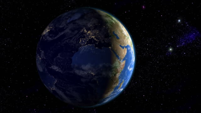 Night in Europe & Africa from space video