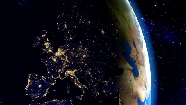 Night in Europe from space video
