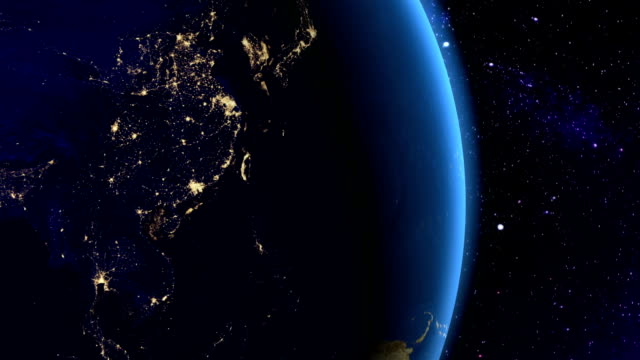Night in Southeast Asia from space video