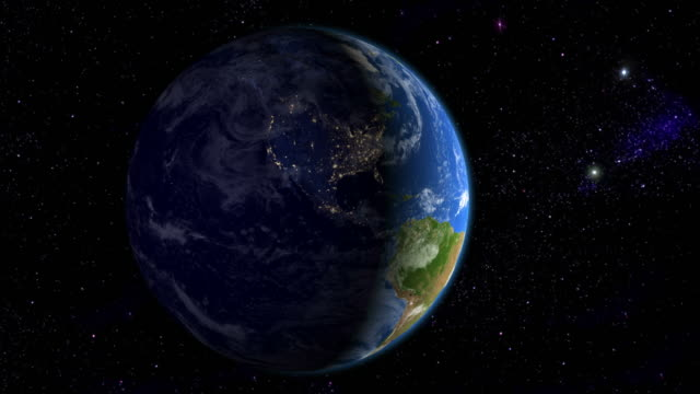 Night in the Americas from space video