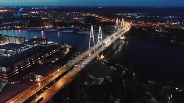 night landscape of a flat city - treedeo saint petersburg stock videos & royalty-free footage