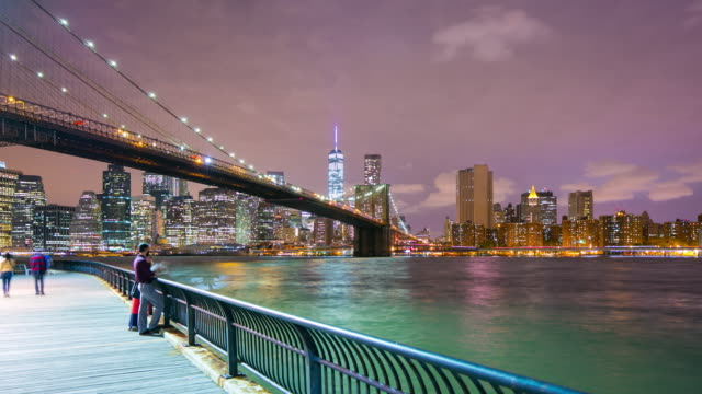 night light brooklyn bridge bay manhattan 4k time lapse from nyc video