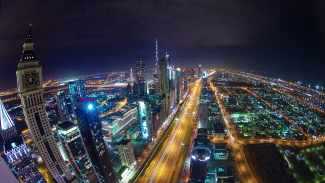 night light dubai city main traffic road roof top panorama 4k time lapse united arab emirates video