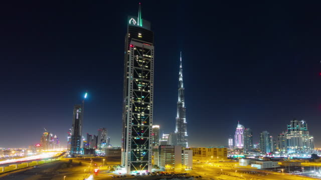 night light dubai traffic street world highest building block 4k time lapse united arab emirates video