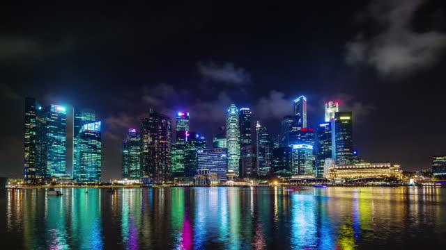 night light panoramic view on singapore 4k time lapse video