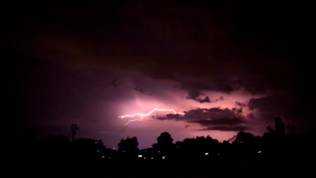 night lightning strikes near the village