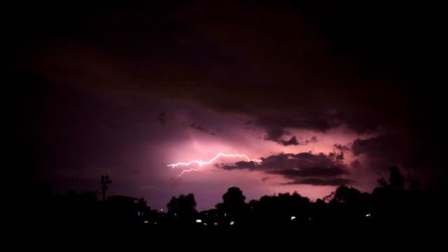 night lightning strikes near the village video
