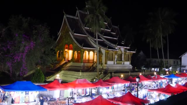 Night market in front of palace at Luang Prabang in Laos