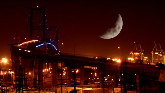 Night Moon Over Port Bridge video
