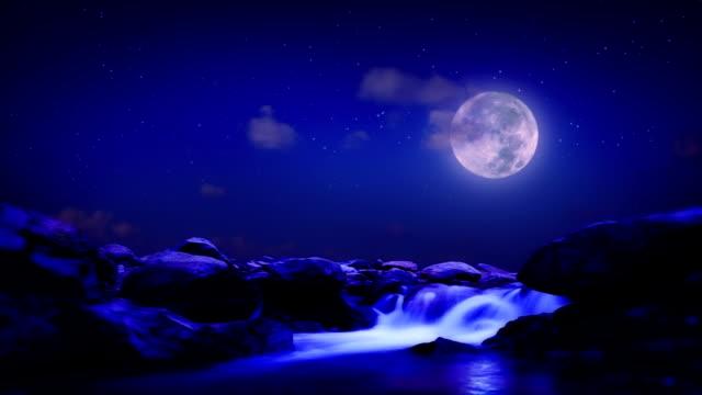 Night mountain river. video