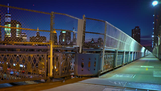 Night mysterious Manhattan bridge Night Manhattan bridge. manhattan bridge stock videos & royalty-free footage