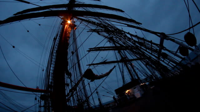 night on the deck of an old sailing ship