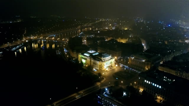 Night panorama of Prague, panoramic view from the air to the old town, lights of the night city video