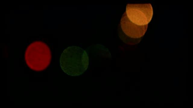 Night road lights defocused. video