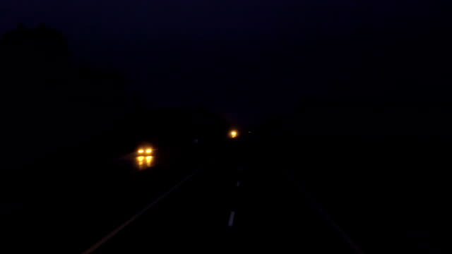 night road. shooting from the car on the track. car driving forward. FullHD video