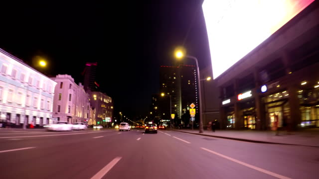 night road pov through the city at night timelapse blue hour - hyperlapse video stock e b–roll