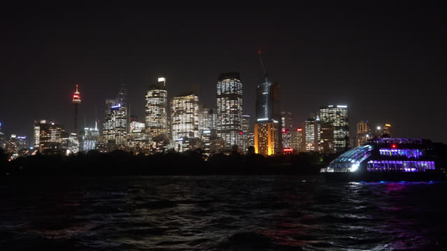 night scene at Sydney city skyline. video