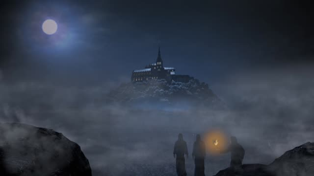 clergymans と夜のシーン - 城点の映像素材/bロール