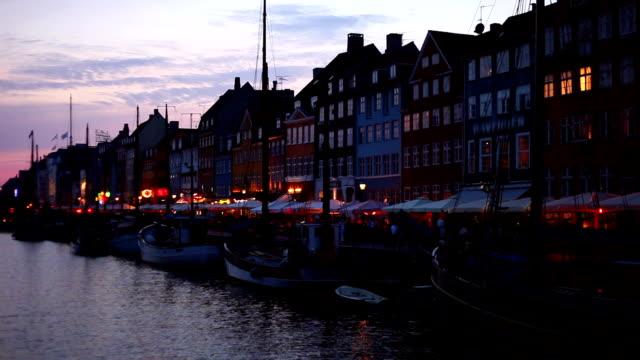 Night scenery of Nyhavn in Copenhagen, Denmark video