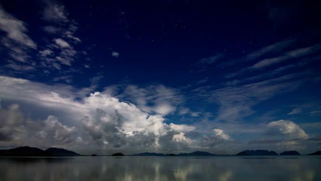 Night sea sky time lapse video