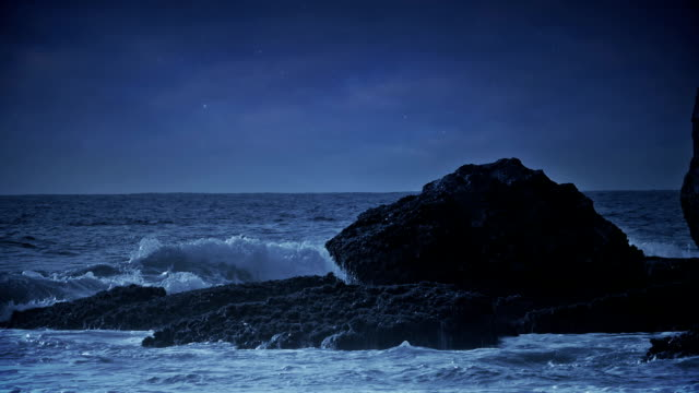 Night sea view with waves crashing at rocks. video