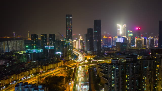 night shenzhen traffic road junction aerial panorama timelapse 4k china - vídeo