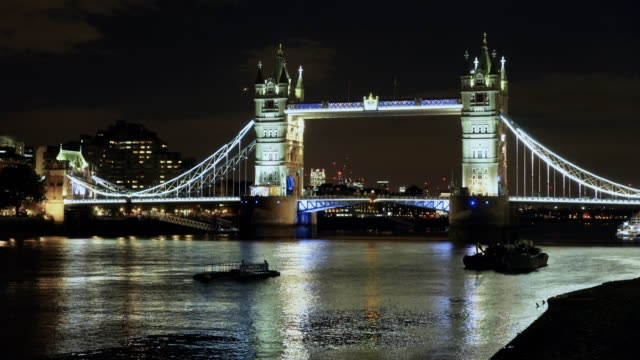 night shot of tower bridge from the south bank of the river thames