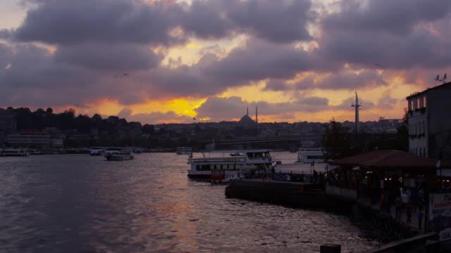 Night silhouette of bosphorus sea and Istanbul, Turkey video