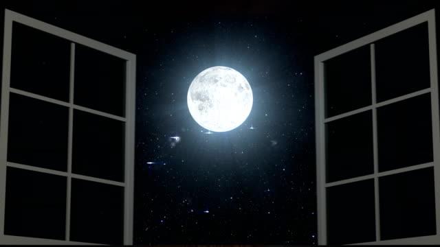 vídeos de stock e filmes b-roll de night sky and moon seen through opened windows - obras em casa janelas