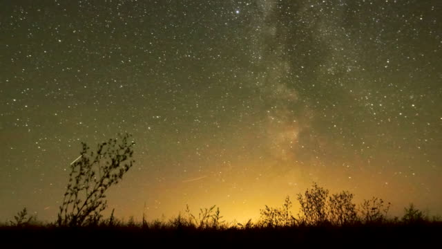 Night sky of stars time-lapse - Milky Way and glow video