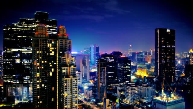 night sky over big city - bangkok stok videoları ve detay görüntü çekimi