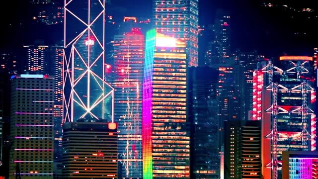 Night skyscrapers video