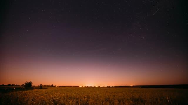 Night Starry Sky Above Summer Field Meadow.