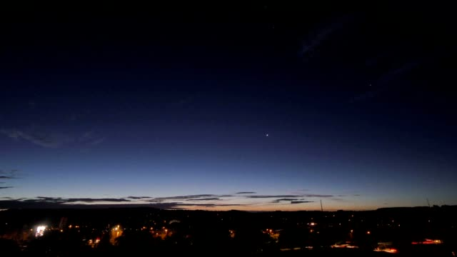 night stars sky, sunrise  and city timelapse video
