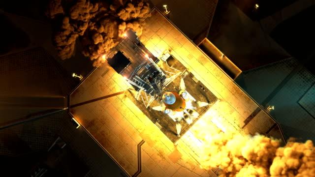 decollo notturno del sistema di lancio spaziale. vista aerea. rallentatore. animazione 3d. 4k. - decollare attività video stock e b–roll
