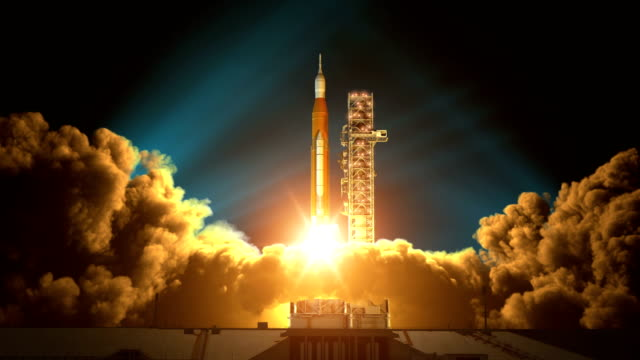 Night Takeoff Of Space Launch System. Slow Motion. 3D Animation. 4K.