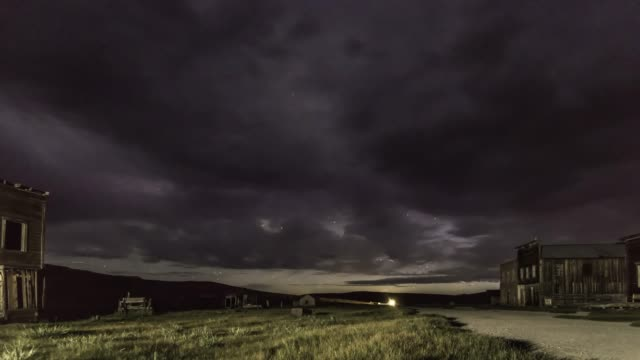 night thunder storm in bodie ghost town - lightning стоковые видео и кадры b-roll