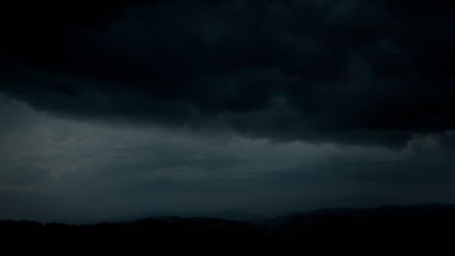 Night thunderstorm - fantastic landscape video background. video
