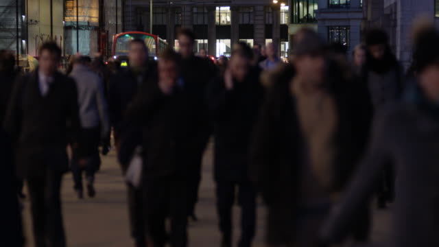 Night time city business workers time lapse video