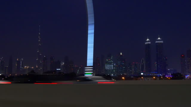 night time dubai road trip al wasl road passenger side  4k united arab emirates video