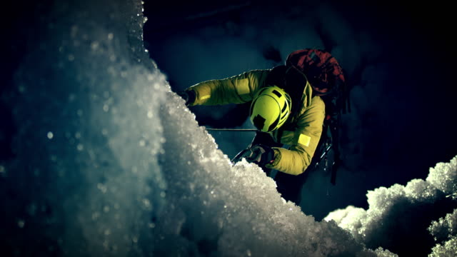 night time ice slope ascending - eisklettern stock-videos und b-roll-filmmaterial