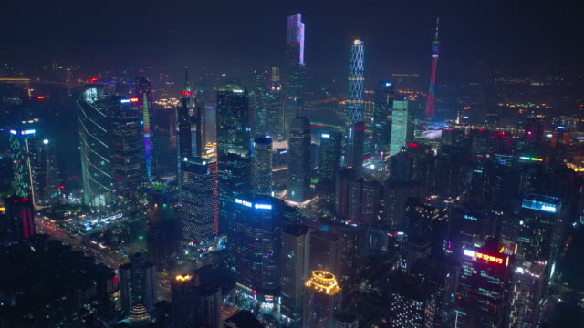 night time illumination guangzhou cityscape famous modern downtown aerial panorama 4k china video