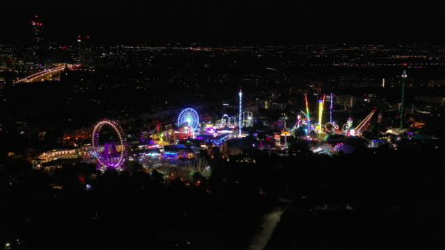 night time illumination vienna city famous theme park aerial panorama 4k austria video
