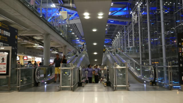 Night Time Lapse of Crowd using escalator at Airport terminal video