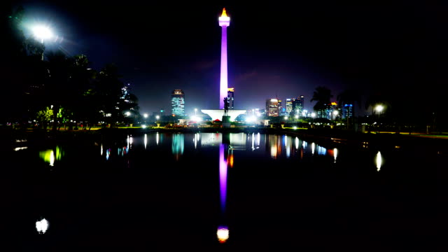Night time lapse of National Monument Time lapse of National Monument with reflection at night. Shot in Jakarta, Indonesia jakarta stock videos & royalty-free footage