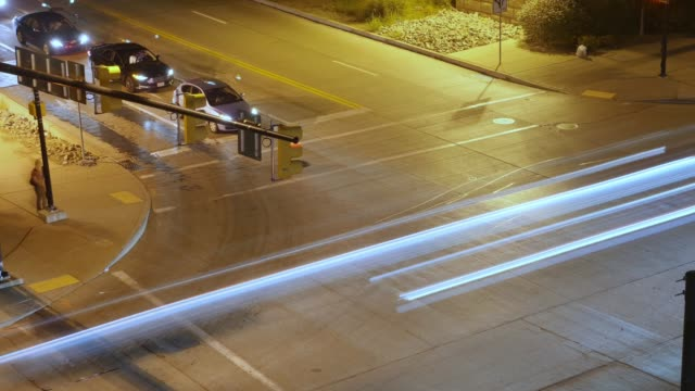 Night Time Lapse View of Traffic at City Intersection video