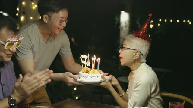 Night time of All family member wish all the best to grandmother in her birthday party - stock video video