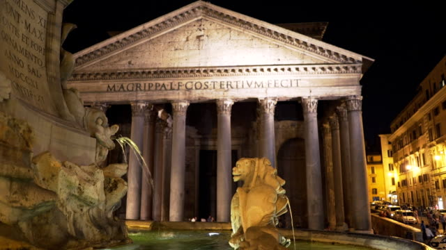 night time view of a fountain and the pantheon, rome video