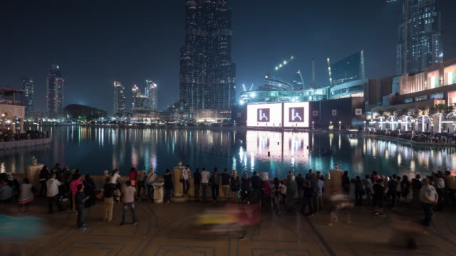 Night timelapse at Burj Khalifa Lake